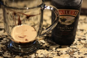 Add the 2 tablespoons of Bailey's Irish cream.