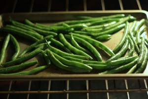 Bake at 350 degrees Fahrenheit for 15 minutes.  Stir the beans at the 7 minute mark.