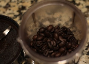 Here are the lovely espresso beans just before grinding…aren't they pretty?
