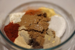 Combine all ingredients in a bowl.  Makes about 1 cup of rub.  Store leftovers in an air-tight container.