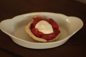 Fill  each mini pie shell (or regular sized pie shell) with pie filling.   For those of us who can have dairy, place a dollop of fresh whipped topping on top.  If you have any filling left over, it's great on top of ice cream.  If you can't have dairy, omit the whipped topping.