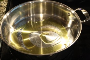 Heat about 2-4 tablespoons of olive oil on medium-high in a skillet.