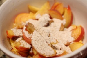 Combine the mixture with the peaches.