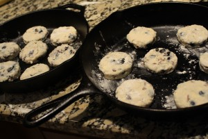 Here are the biscuits in the cast-iron skillets.  I left about 1 inch in between each biscuit.