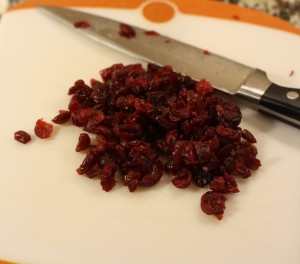 Chop the dried cranberries.