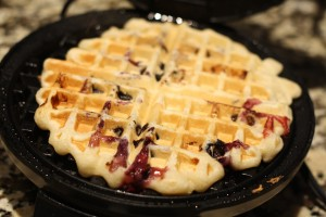 Once the waffle is cooked…carefully remove from the waffle iron (I use a fork to pick it up).