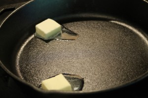 In a skillet on medium heat, melt the 2 tbsp of butter.