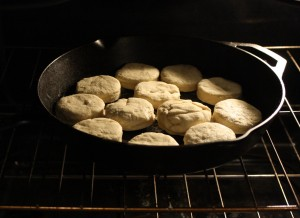 Bake on 400 degrees Fahrenheit for 15-18 minutes.  Use your oven mitts when taking the pan out of the oven; the pan and biscuits will be extremely hot.  Allow the biscuits to cool a few moments before serving.