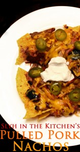 Scoop nachos onto a plate.  Top with fresh or jarred jalapenos and a dollop of sour cream.