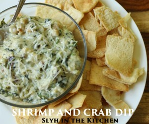 Spoon Shrimp and Crab Dip into a serving bowl and serve with pita chips.  If you have a small slow-cooker with a warming function, this is a great way to serve this dip as well.