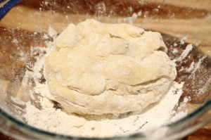 Once the dough is combined.  Knead it a few times in the bowl.