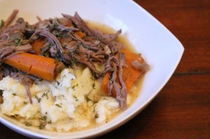 Spoon out desired portion over Homemade Mashed Potatoes.  This makes approximately 4-5 servings.
