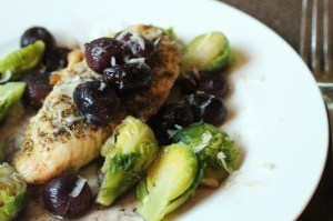 Serve a spoonful of grapes and juices over a chicken breast.  Serve with steamed Brussels sprouts.