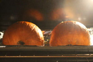 Roast the pumpkin on 325 degrees Fahrenheit for about 45 minutes.  The time will vary some (less or more) depending on the size of your pumpkin.