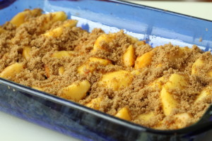 Peaches and Sugar in Cake Pan