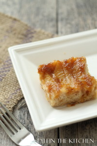 Slice of Upside Down Peach Cake