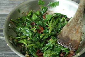 Add Bacon to spinach