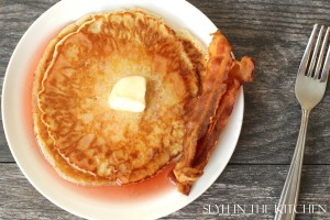 Pancakes and Cinnamon Bacon Syrup ready to eat