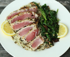 Sliced Tuna with Spinach 2