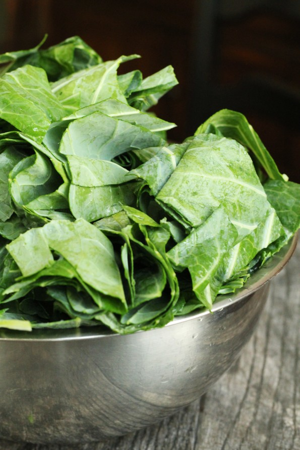 Bowl of cut collard leaves