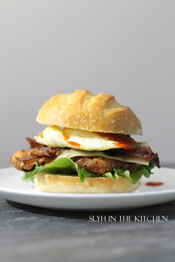 Chicken bacon and egg sirracha sandwich