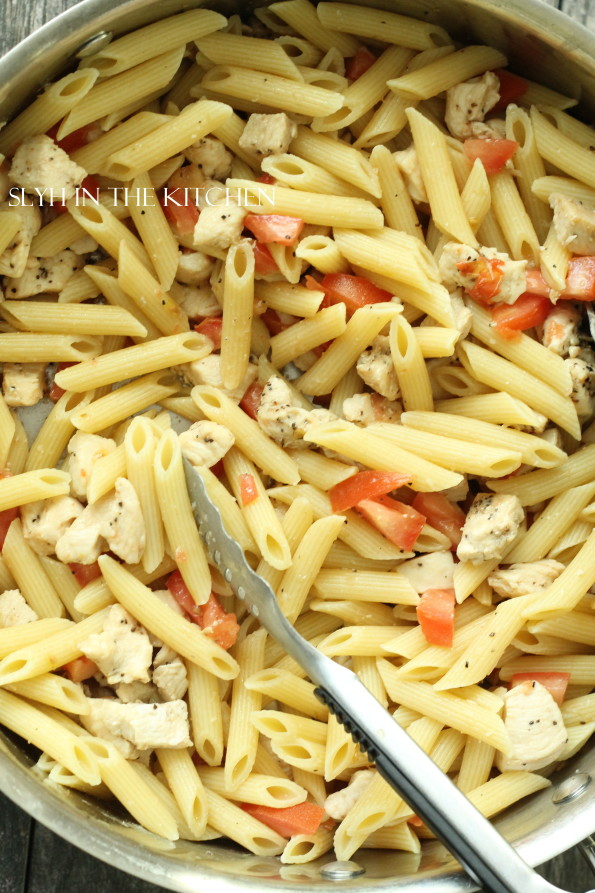 Add Pasta to Chicken and Tomatoes